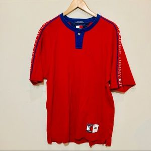 {TOMMY HILFIGER} Denim Jeans Red Spell Out Tee
